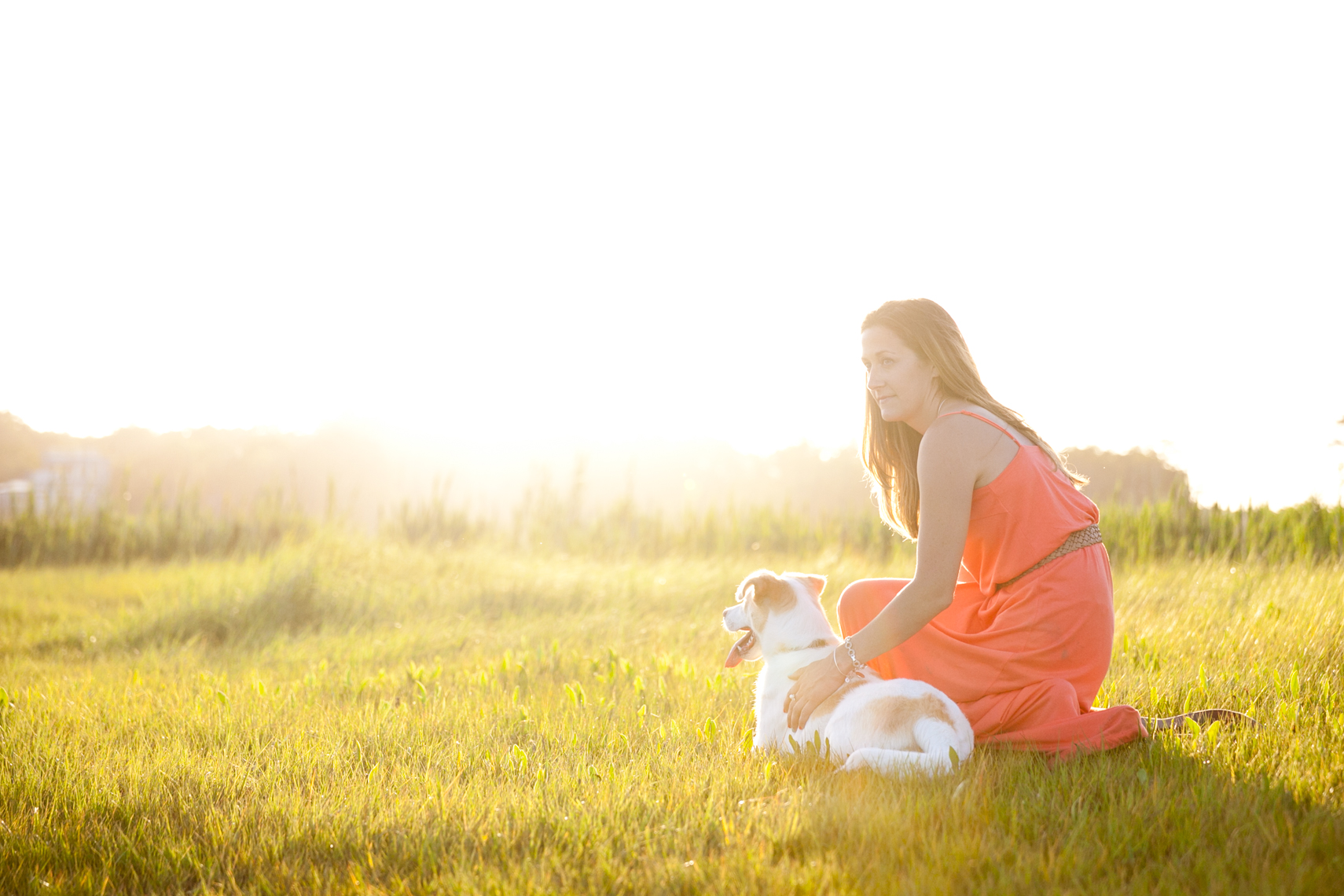 Sunlit portrait of a girl and her rescue